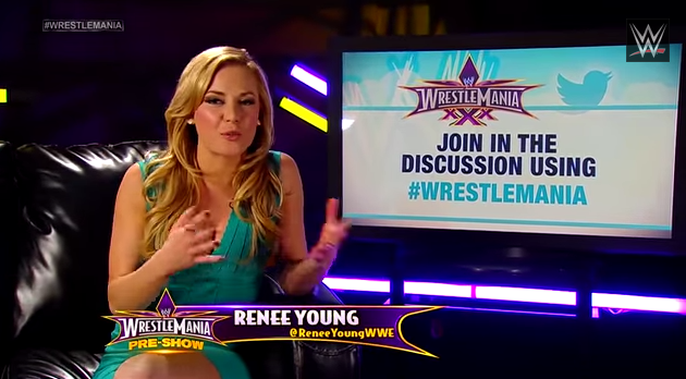 WWE announcer Renee Young covers the Social Media Lounge, presenting tweets from the WWE Universe during the WrestleMania 30 Pre-Show, streamed live on numerous social media channels and WWE Network.