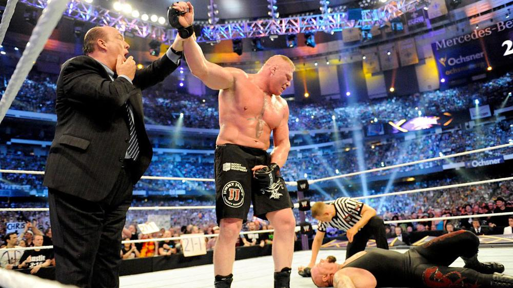 Paul Heyman stood in shock as his client, Brock Lesnar, defeated The Undertaker at WrestleMania 30, ending The Deadman's 21-0 unbeaten Streak at the biggest show of the year.