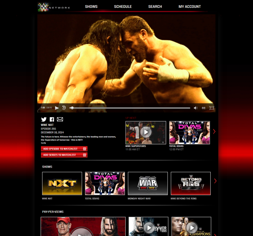 WWE Network Home Screen