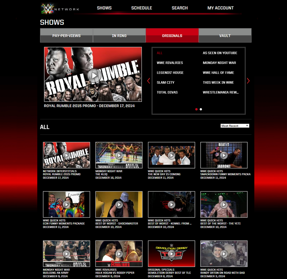 WWE Network Shows Menu