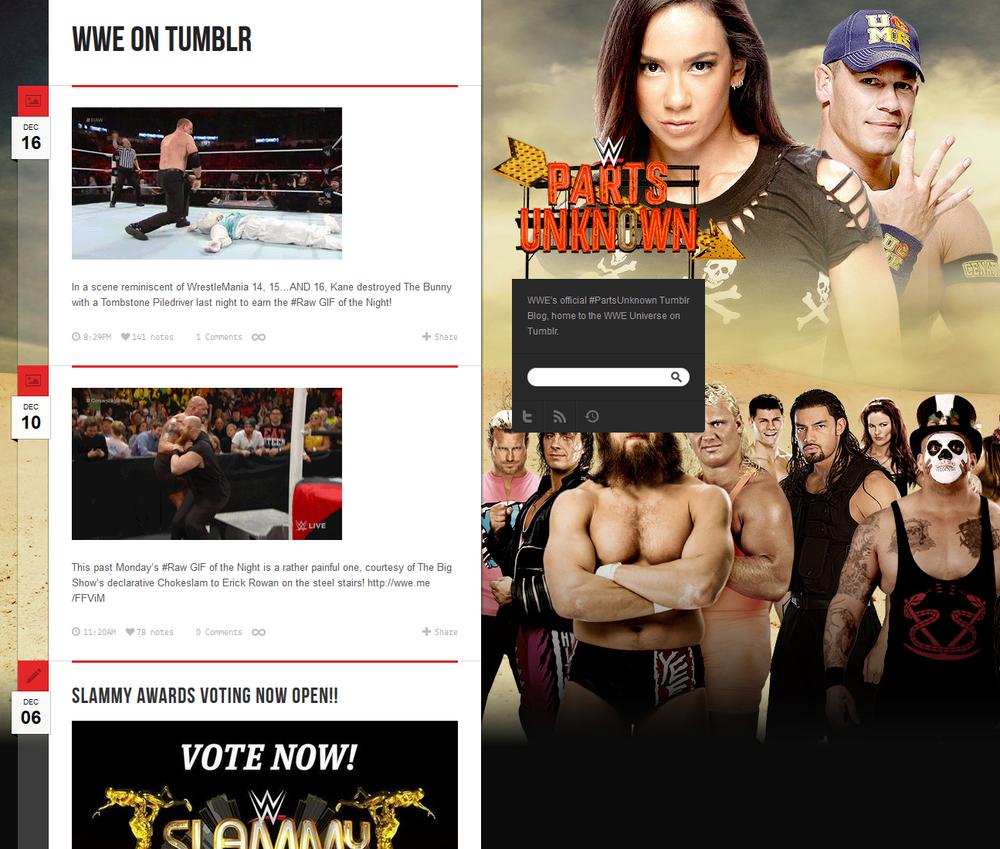 "WWE on Tumblr (""WWE Parts Unknown"") http://wwe.tumblr.com"