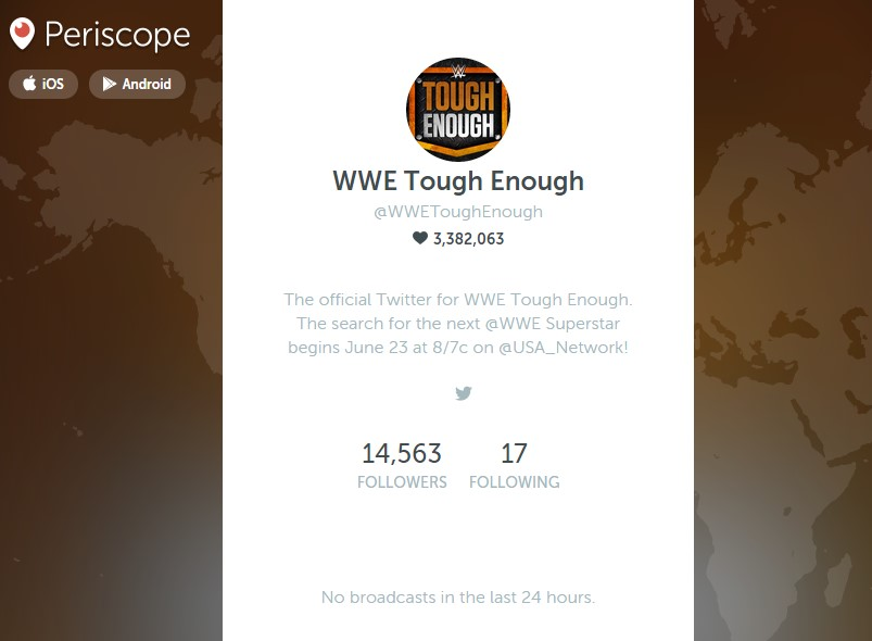 WWE Tough Enough on Periscope