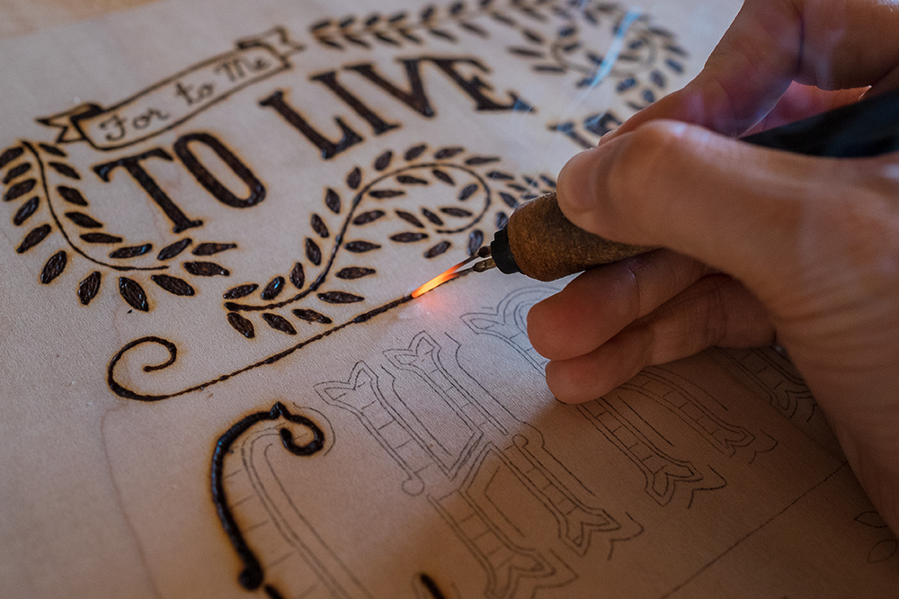 To Live Is Christ Woodburning Process Scripture Type
