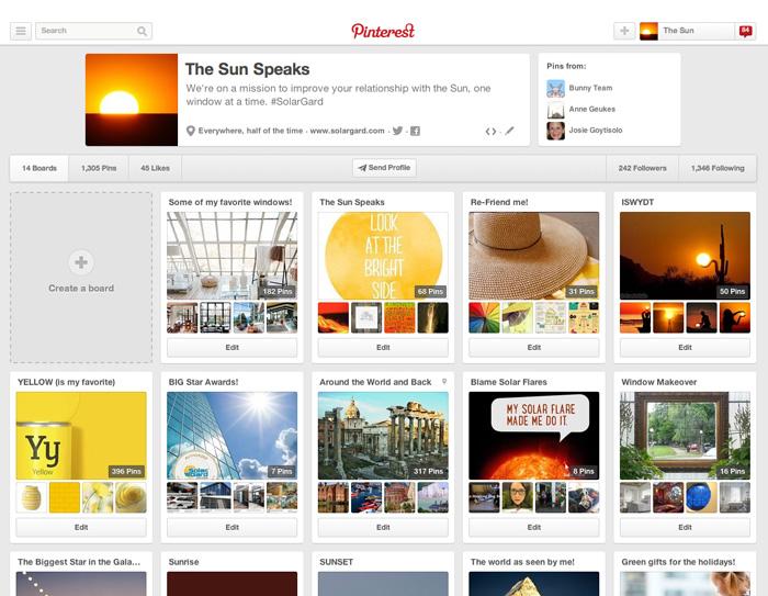 The Sun Speaks Pinterest Page