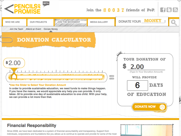 The Pencils of Promise Donation Calculator