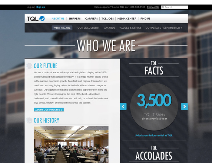 The TQL About Us Page