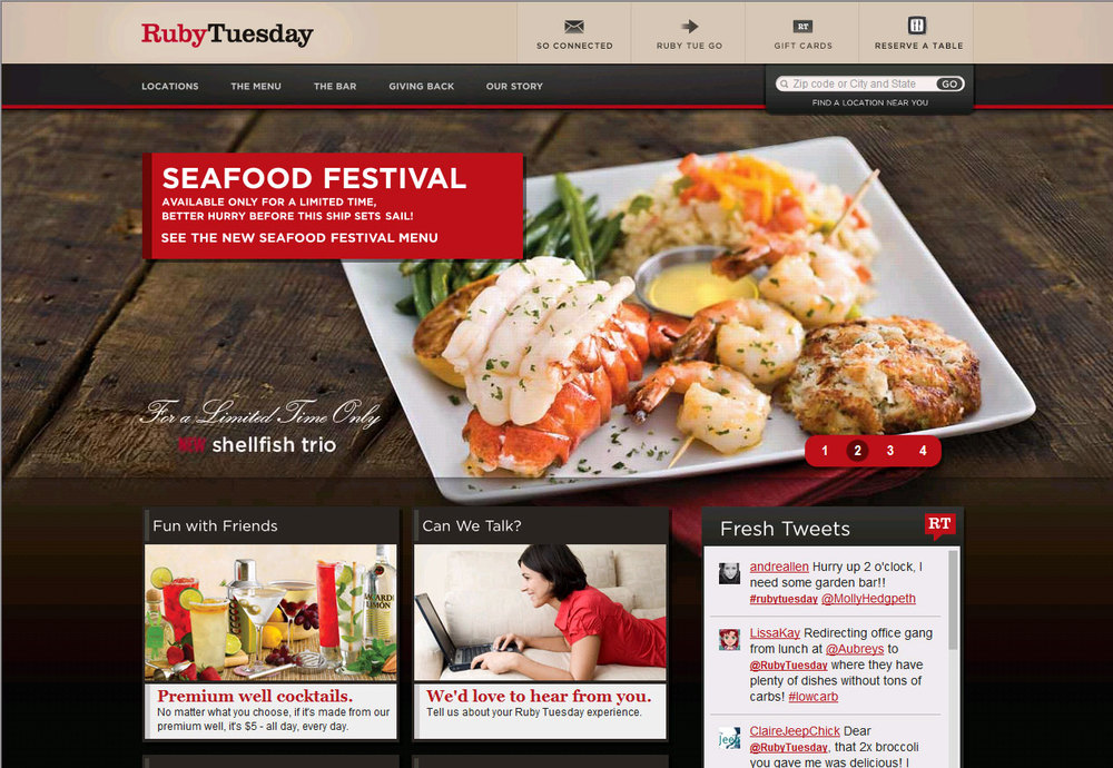 Ruby Tuesday Homepage
