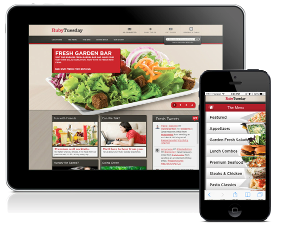 RubyTuesday.com on Tablet and Mobile