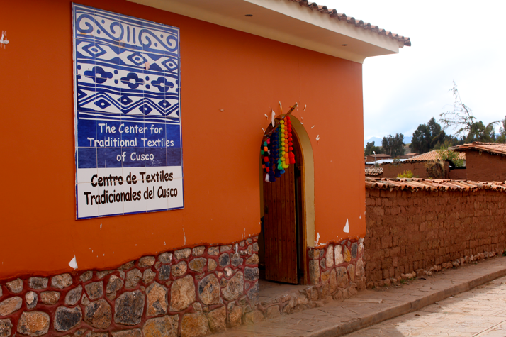 Outside of CTTC's weaving center and store in Chinchero, Peru.
