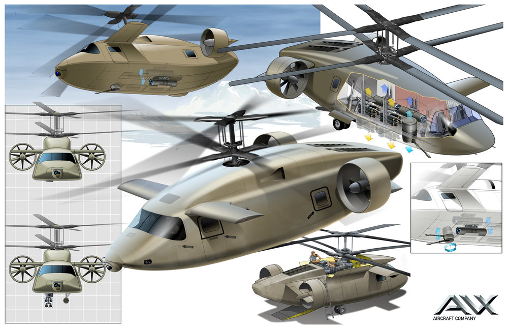 Illustration shows patented AVX design for ATTACK Mode JMR: Clean aerodynamics via weapons retraction; Ease of loading weaponry payload and ease of maintenance.