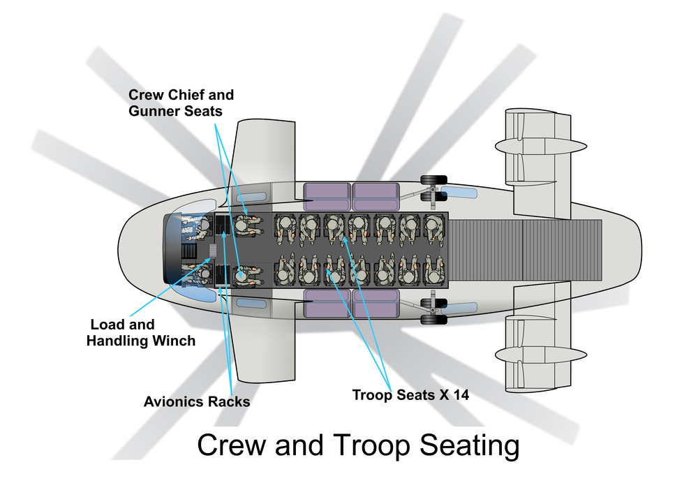 AVX Aircraft in Utility-Transport configuration showing floor plan for troop (14) seating.