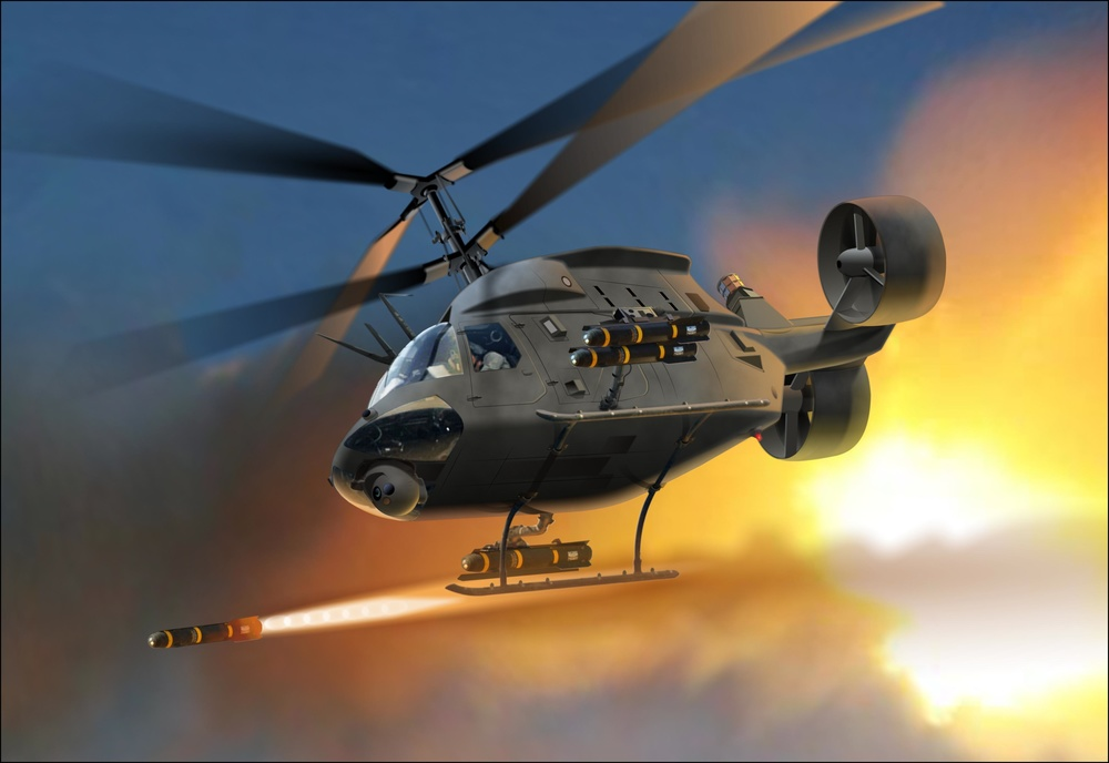 AVX converted OH-58D showing Hellfire missile firing