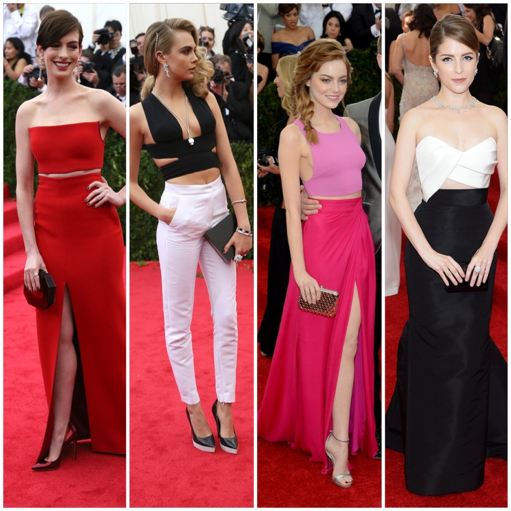 The exposed midriff bandwagon.  left to right: Anne Hathaway, Cara Delevigne, Emma Stone, Anna Kendrick