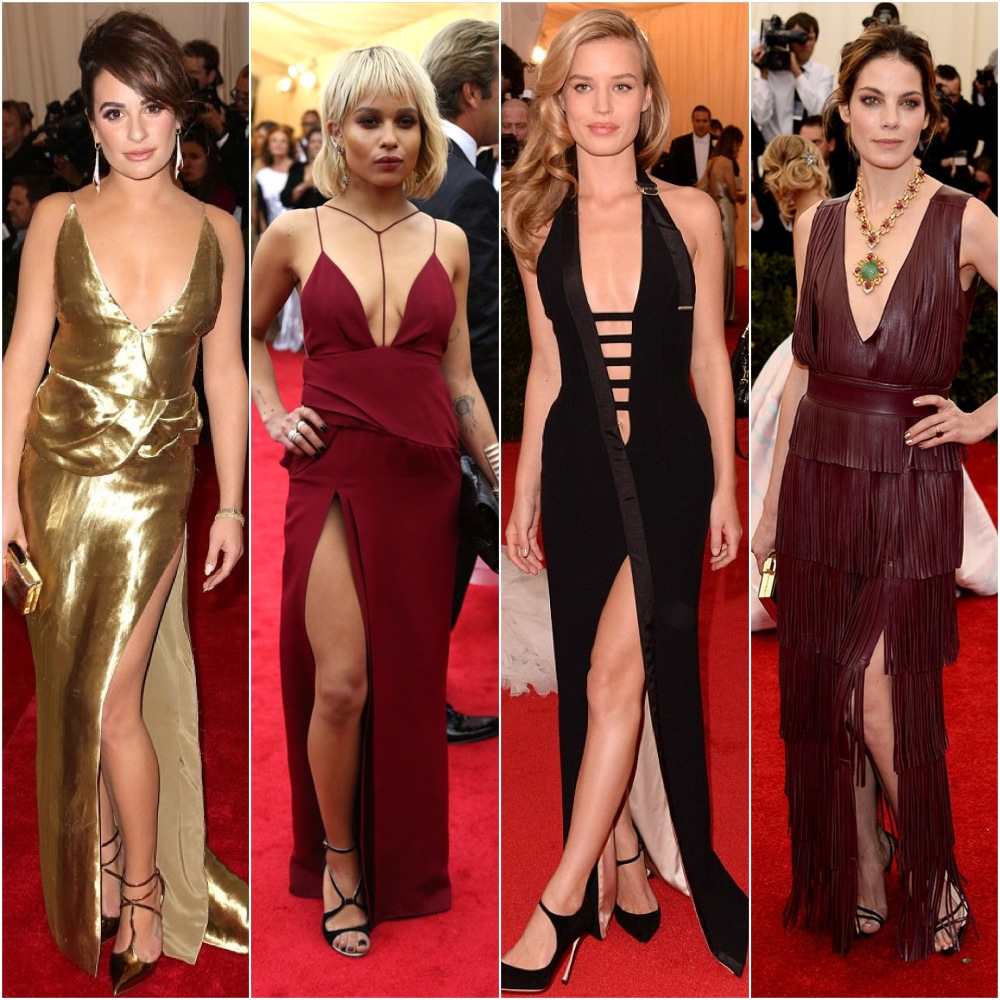 When Sternum just isn't enough, show some upper thigh.  left to right: Lea Michele, Zoe Kravitz, Georgia May Jagger, Michelle Monaghan