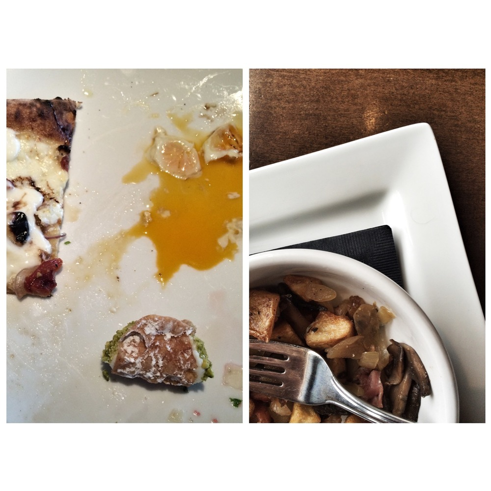 left: pizza corner, massacred quails eggs and toilet-infused cannoli right: meaty hash including short & curly (right corner of square plate)