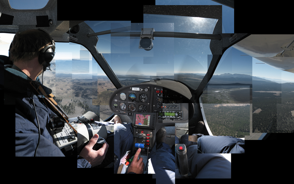 Mike Light imaging in his aircraft, doors off; composite by Benjamin Turner