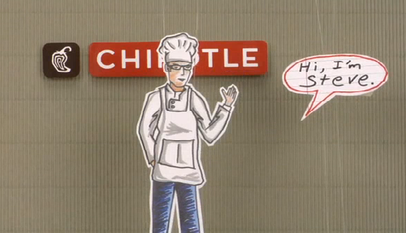 Cartoon of Steve Ells from Animated Video by Chipotle | chipotle.com