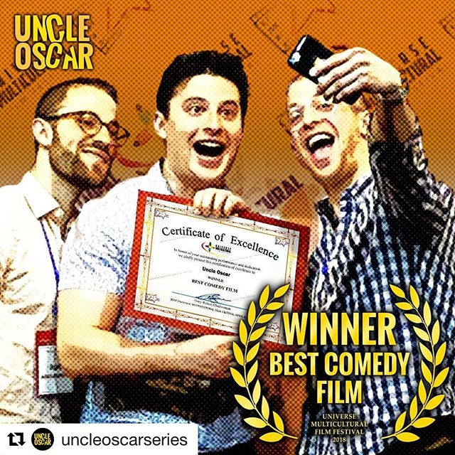 #Repost @uncleoscarseries 🙌🏻 ・・・ We've done it again! All smiles from Team #UncleOscar in LA last week after winning BEST COMEDY FILM at the 2018 Universe Multicultural Film Festival. We are honored to have been chosen for this award and want to wish all the other nominees a well deserved congratulations!  If you have not had a chance to see Uncle Oscar yet, you can check it out by clicking the link in our bio! 🏆🎞️🎥🎬📽️🏆 #film #filmproduction #setlife #directing #acting #cinema #nycdirecting #cinemetography #nyc #passion #actorslife #filmmaking #lightscameraaction #comedy #webseries #gratitude #filmfestival #winner #awardwinning #bts  #behindthescenes #showtime #umff #universemulticulturalfilmfestival #diversity