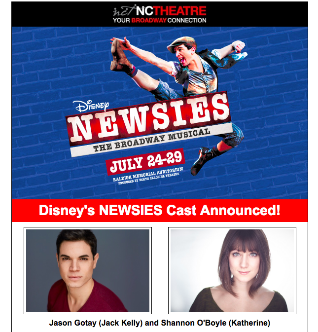 https://nctheatre.com/shows/newsies  for tickets and more show information