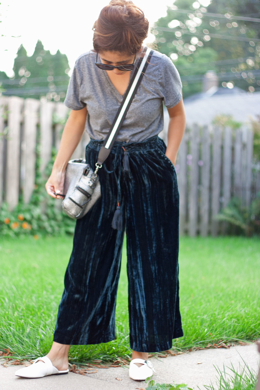velvet culottes: anthropologie | bag: 3.1 phillip lim | mules: whowhatwear | bag strap: target -