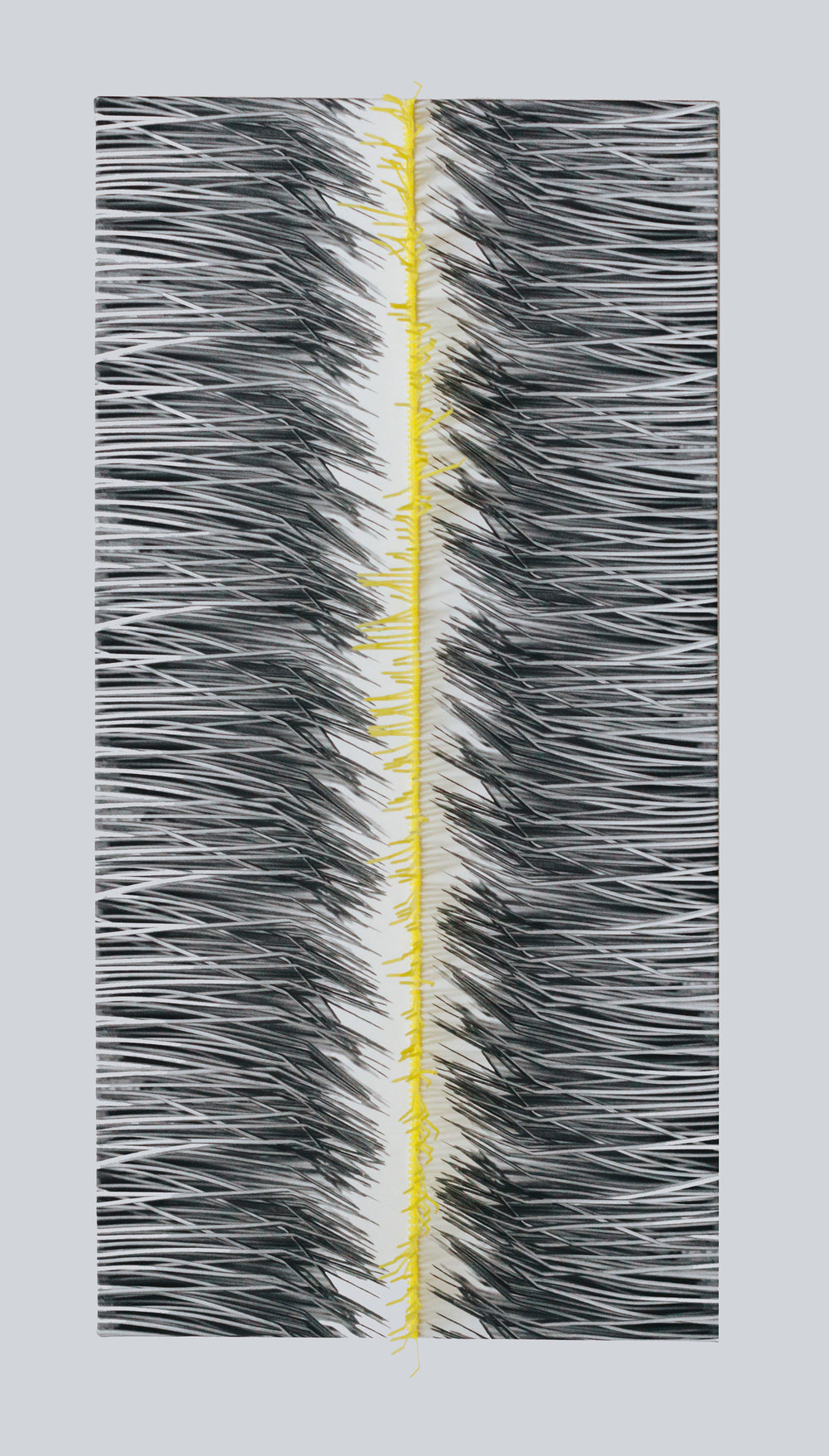 "YELLOW LINE : DIGITAL PRINT ON RECYCLED POLYESTER WITH DYED ZIP TIES. 18"" X 36"" X 2"""