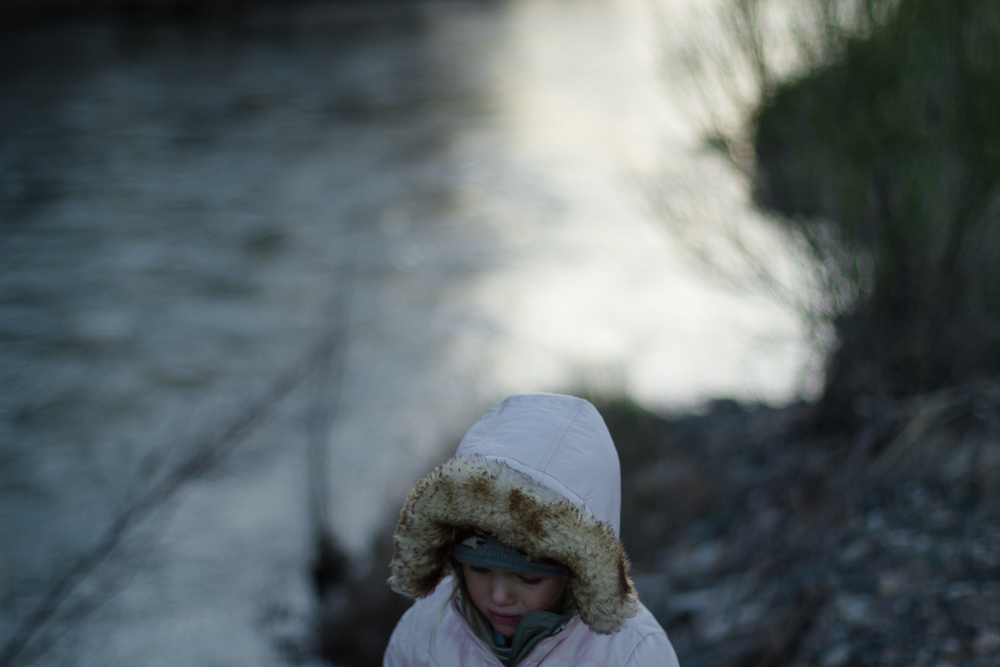 A portrait of Francesca, my daughter, freezing on the Verde River at the end of Mom's road. We quadded down at sunset, threw rocks, slipped on the banks and saw a beautiful stag, huge antlers, but startled by our presence, bounding in the brush just feet away.
