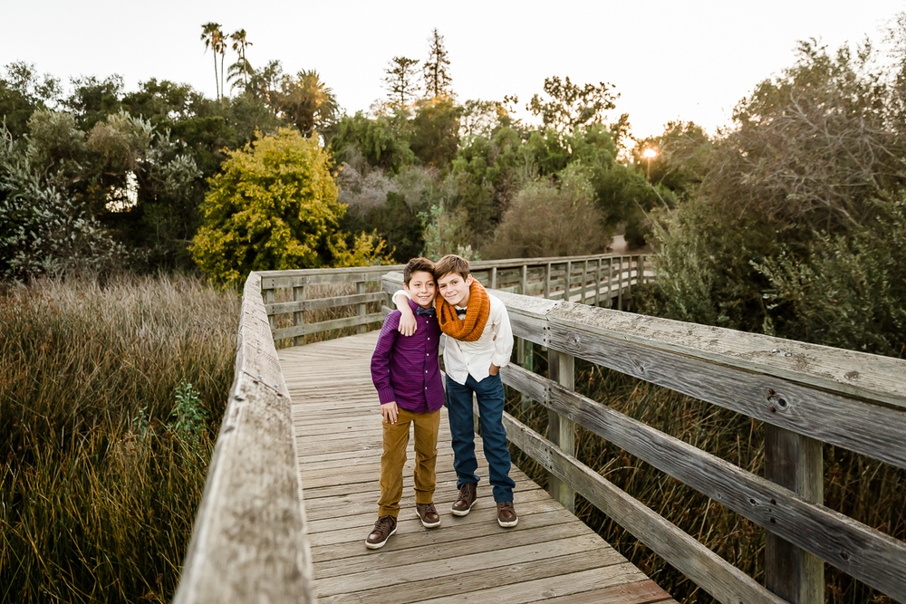 Image from a Family Session with brothers posed together on a bridge