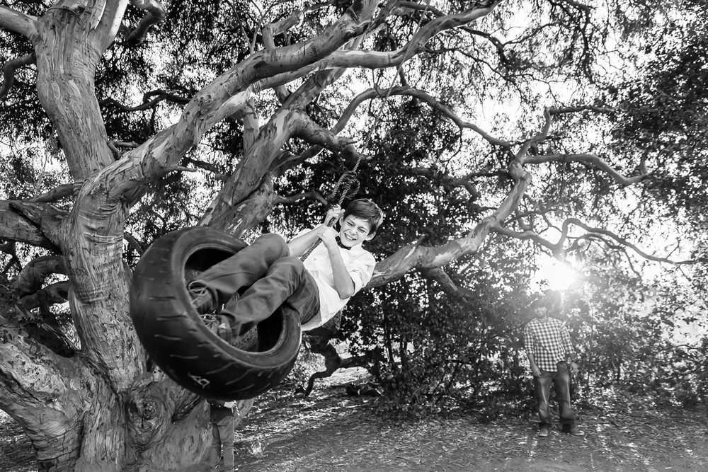 Image from a Family Session with a boy on a tire swing