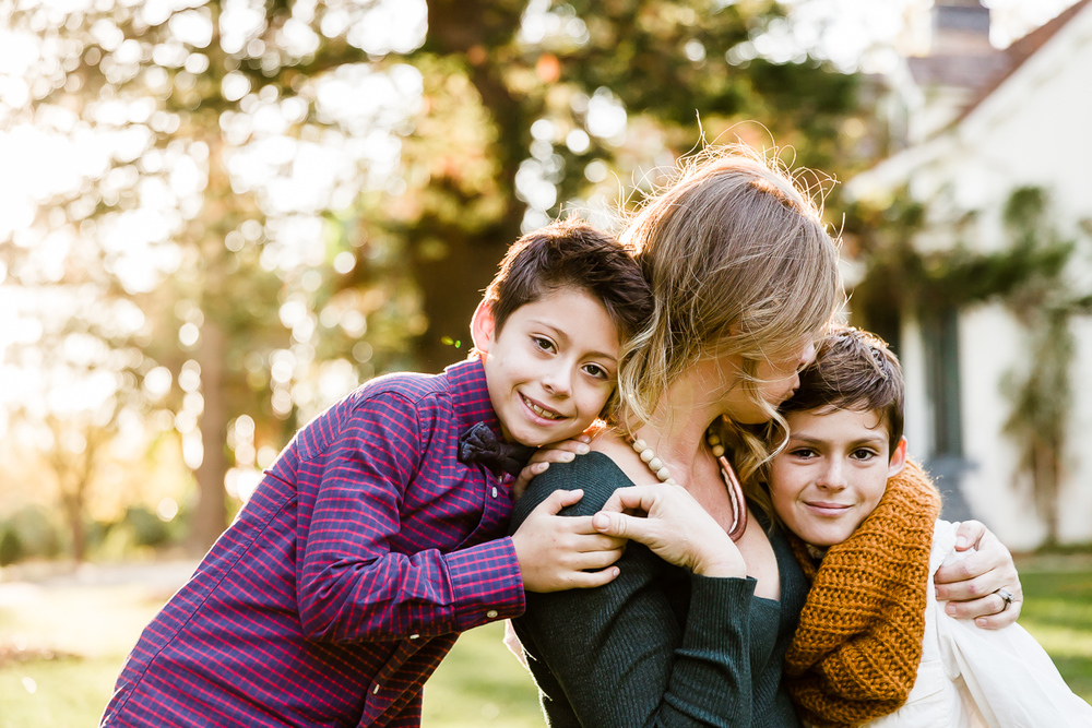 Image from a Family Session with a woman and her two sons