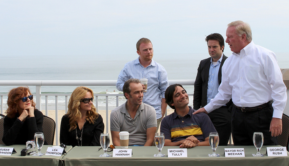 PHOTO CREDIT: Susan Sarandon, Lea Thompson, John Hannah, Michael Tully and Ocean City Mayor Rick Meehan at    Ping Pong Summer's 2012 Press Conference   in Ocean City, MD.