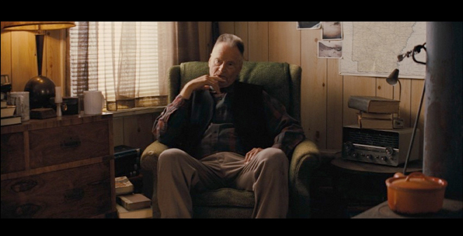 PHOTO CREDIT: Above is a screenshot of Tom Blankenship (Sam Shepard) in his houseboat.