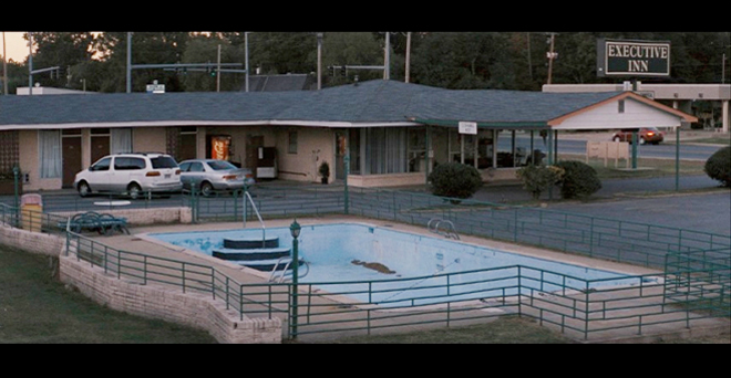 PHOTO CREDIT: Above screenshot is from a scene filmed at The Executive Inn where Juniper (Witherspoon) is staying.