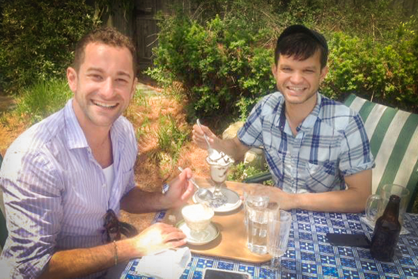 PHOTO CREDIT: Ethan Tobman and Will, from the production design team of And So It Goes, enjoyed desserts on the terrace at Bloodroot. Photo is from the official Bloodroot's Facebook page.