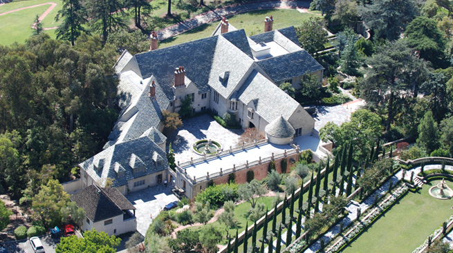 PHOTO CREDIT: Above aerial photo of Greystone Mansion is from here.