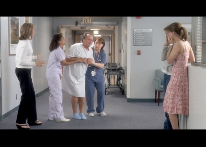 PHOTO CREDITS: Above are screenshots of two hospital scenes set in the Hamptons. The sets however were built inside St. Luke's Hospital just for the filming.