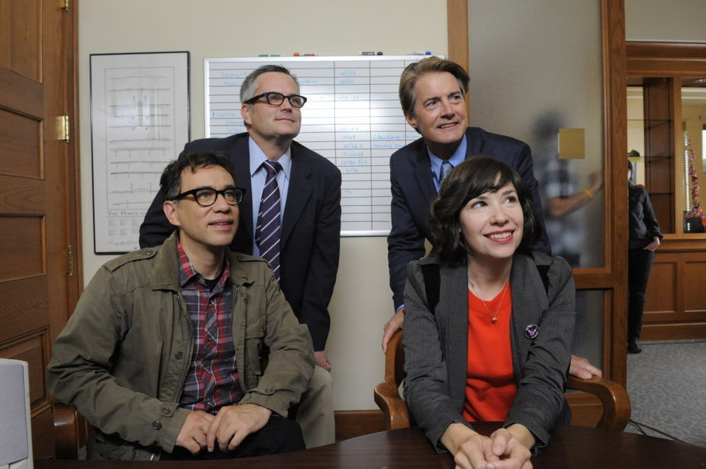 PHOTO CREDIT:  Above photo of Mayor Sam Adams and the Portlandia cast (Fred Armisen, Carrie Brownstein, Kyle MacLachlan as the fictional mayor of Portland) is from  here .