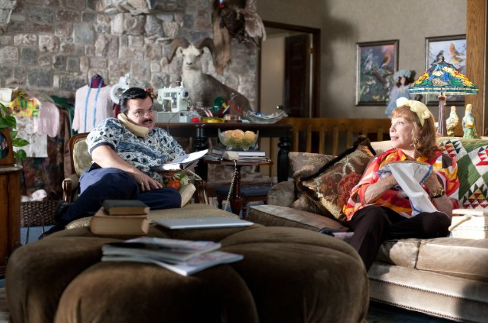 Production still of Jack Black and Shirley MacLaine in  Bernie  (2011) - filmed in Austin, Texas - via  IMDb .