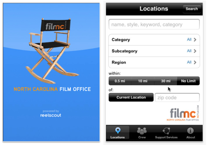 North Carolina Film Office's iPhone app.