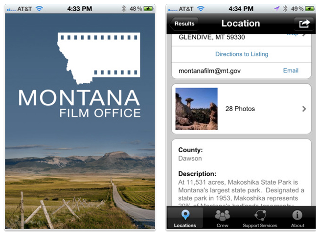 Montana Film Office's iPhone app.