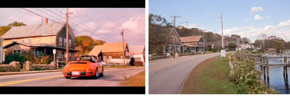 Image on left is a screenshot of the street where Kat and Daisy live. Image on right is a recent photo of the same street where the movie was filmed.