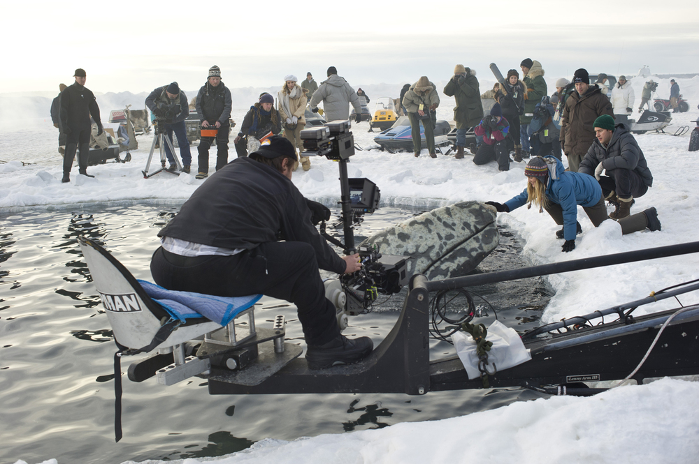 Behind-the-scene photo of  Big Miracle  - via  Google .