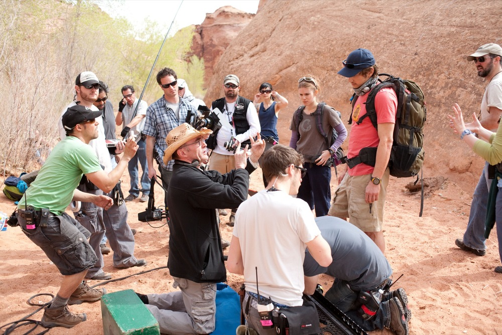 Behind-the-scene photo of 127 Hours via Google.