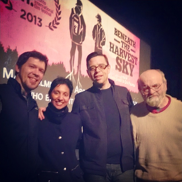 The cast and directors of  Beneath The Harvest Sky , from left to right: Scott Anthony Smith, Gita Pullapilly & Aron Gaudet (Directors) and Peter Paton - in front of The Strand Theater, Rockland, Maine  . (Image via  Scott Anthony Smith's Facebook .)