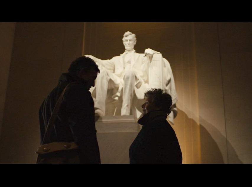 Screenshot: Martin and Philomena visit the Lincoln Memorial when they are in D.C. in search of her son.