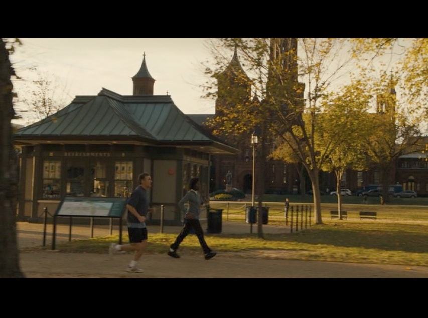 Screenshot from Philomena of a scene of Martin jogging filmed on the National Mall.