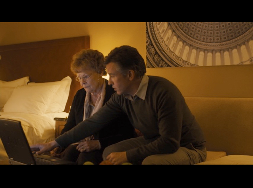 Screenshot: Philomena and Martin in the D.C. hotel room. This was actually filmed at the  London Marriott Hotel Regents Park . Check out the artwork of the U.S. Capitol on the wall behind them. Nice touch.