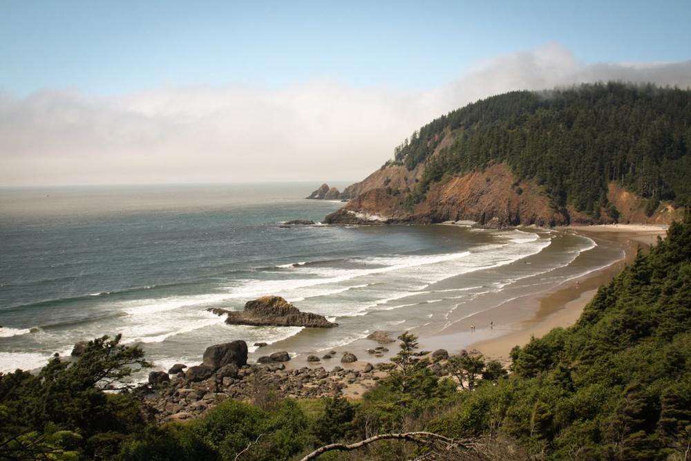 Indian Beach in Ecola State Park, Cannon Beach, Oregon - where  The Goonies, Point Break  and  Twilight  were filmed - via  Google .