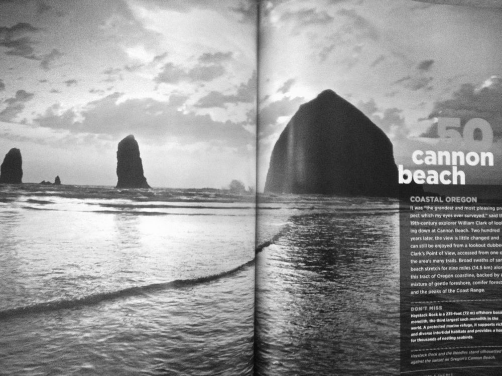 A spread in the June 2013 issue of National Geographic magazine featuring Cannon Beach as one of the world's 100 most beautiful places.