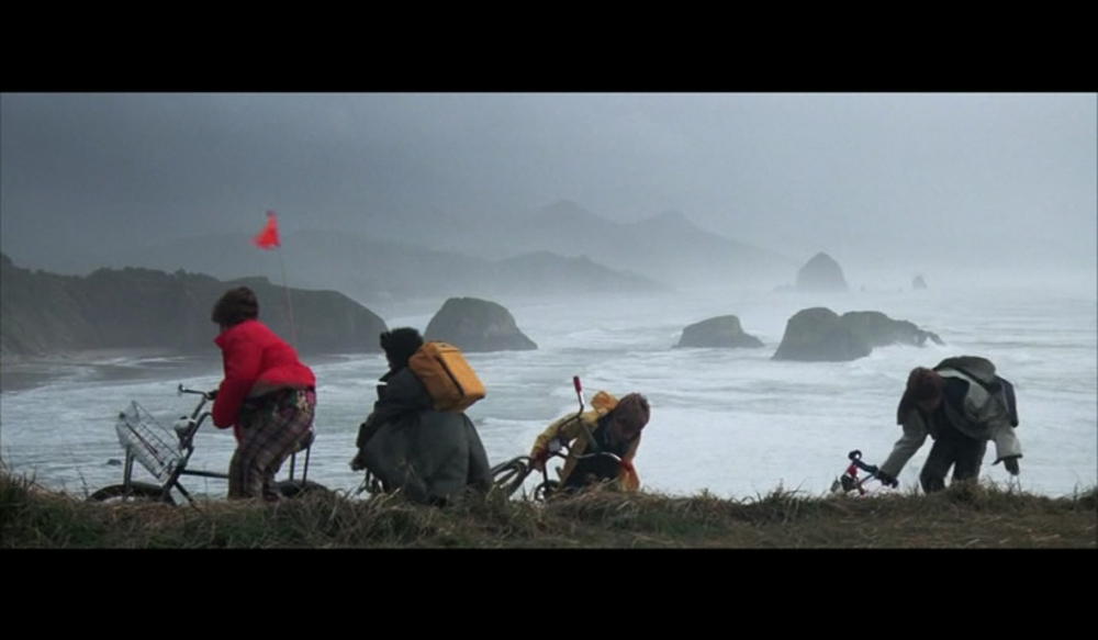 Screenshot from  The Goonies  filmed on the bluff of Indian Beach in Cannon Beach's Ecola State Park.
