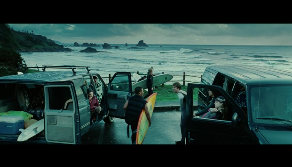 Screenshot from Twilight of a scene filmed at Indian Beach - where Bella's friends are getting ready for a day of surfing fun. For this scene, Indian Beach stands in for First Beach, a real-life beach in La Push, Washington.